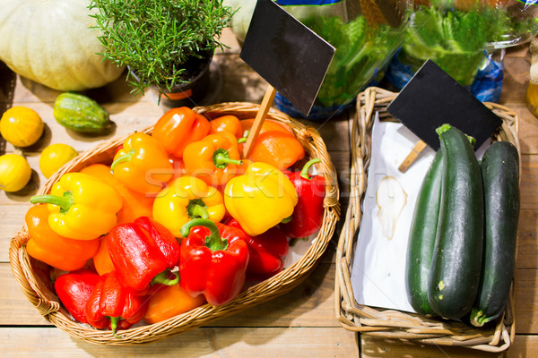 vegetables in baskets with nameplates at market Stock photo © dolgachov
