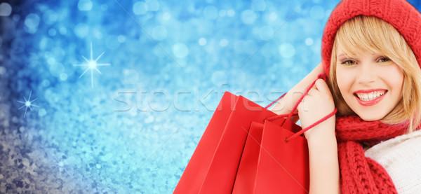 Kadın kırmızı şapka eşarp kış Stok fotoğraf © dolgachov