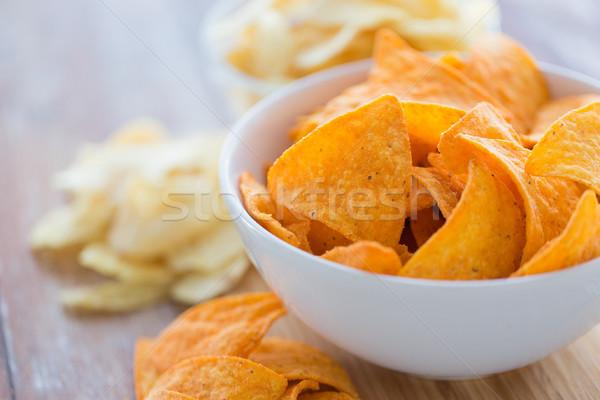 Közelkép kukorica nachos tál étel konyha Stock fotó © dolgachov