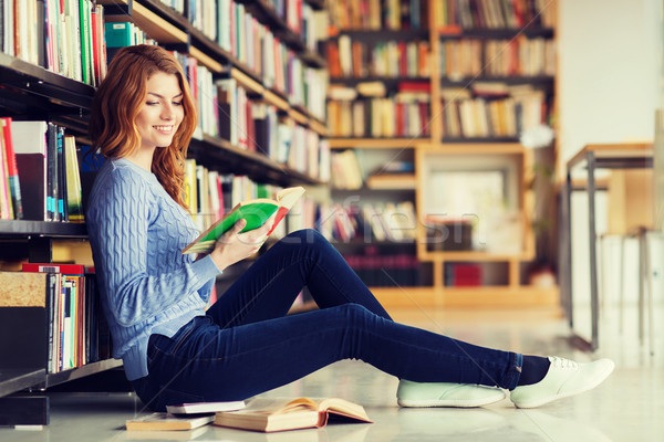 happy student girl reading book in library Stock photo © dolgachov