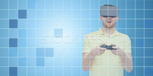 человека виртуальный реальность гарнитура геймпад 3D Сток-фото © dolgachov