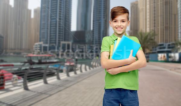 Gelukkig student jongen mappen notebooks jeugd Stockfoto © dolgachov