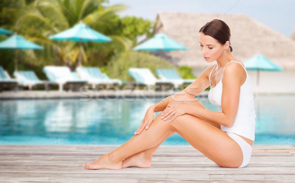 Belle jeune femme plage piscine personnes beauté Photo stock © dolgachov