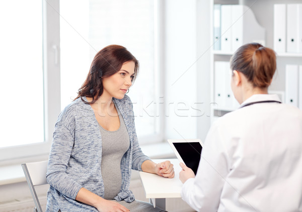 gynecologist doctor and pregnant woman at hospital Stock photo © dolgachov