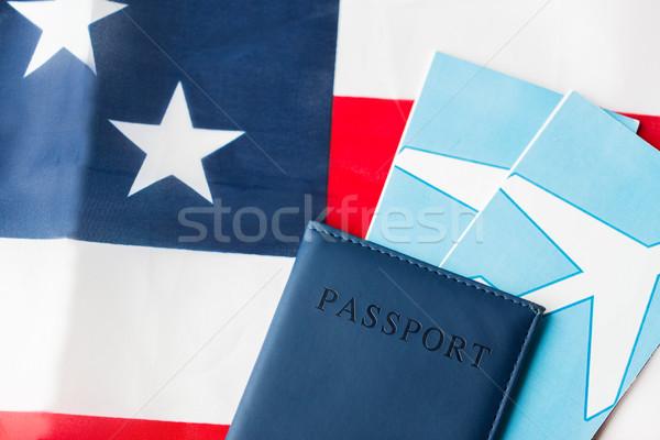 Foto stock: Bandera · de · Estados · Unidos · pasaporte · aire · entradas · viaje · turismo