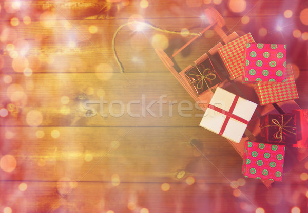 クリスマス ギフトボックス 木製 そり 休日 ストックフォト © dolgachov