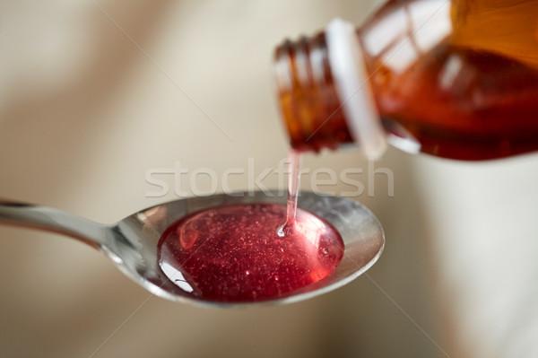 Sciroppo cucchiaio sanitaria trattamento medicina Foto d'archivio © dolgachov