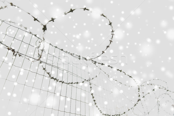 barb wire fence over gray sky and snow Stock photo © dolgachov