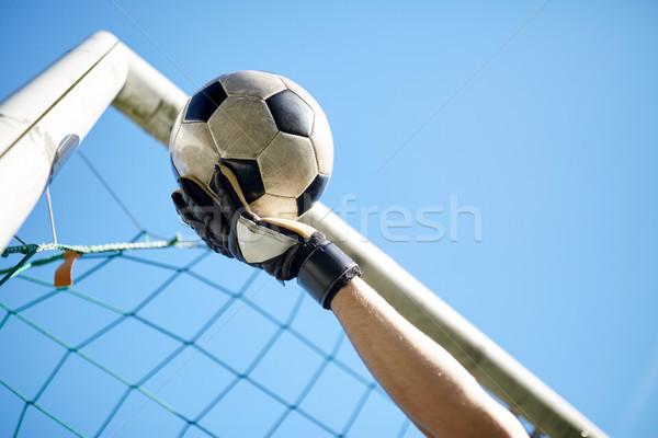 Portero pelota fútbol objetivo cielo deporte Foto stock © dolgachov
