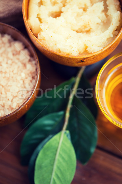 close up of body scrub in wooden bowl Stock photo © dolgachov