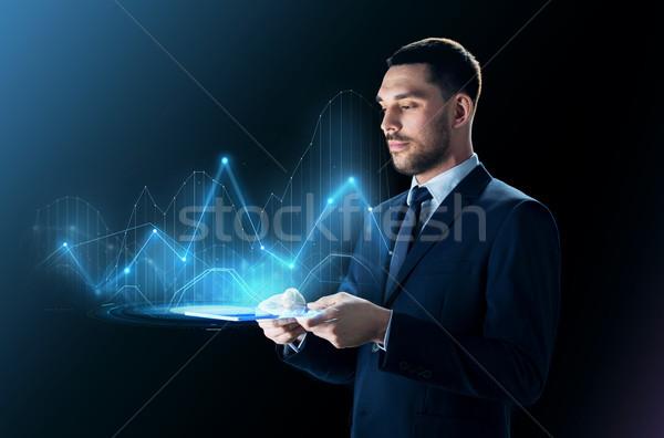 üzletember táblagép virtuális táblázatok üzletemberek statisztika Stock fotó © dolgachov