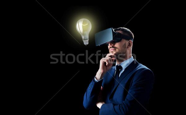 бизнесмен виртуальный реальность гарнитура черный деловые люди Сток-фото © dolgachov