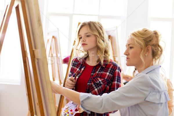 Diák tanár festőállvány művészet iskola kreativitás Stock fotó © dolgachov
