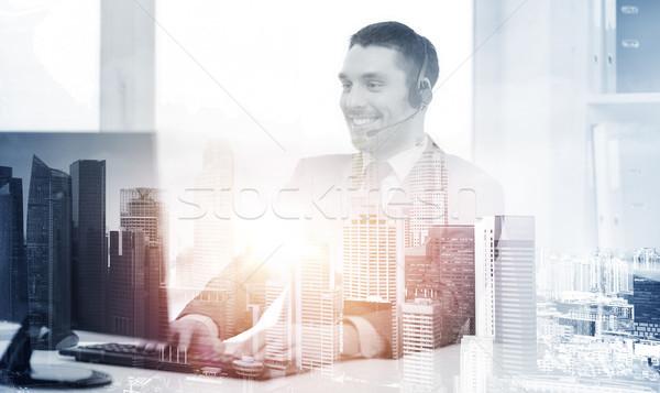 Línea de ayuda operador auricular ordenador negocios tecnología Foto stock © dolgachov