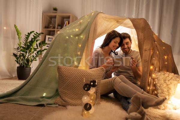 пару питьевой кофе чай дети палатки Сток-фото © dolgachov