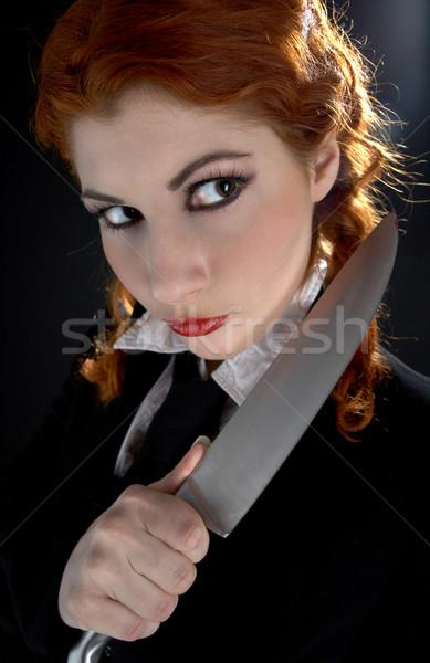 Loco colegiala cuchillo retrato grande mujer Foto stock © dolgachov