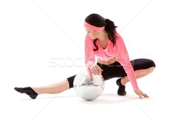 Diszkógömb táncos kép lány diszkógömb fehér Stock fotó © dolgachov