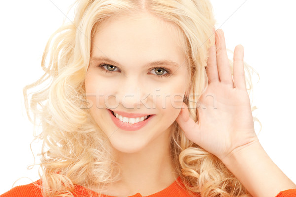 woman listening gossip Stock photo © dolgachov