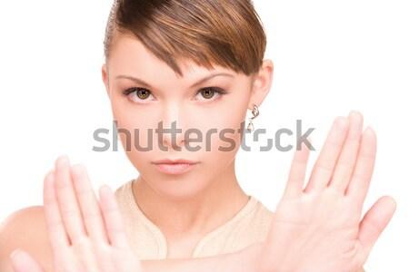 停止 明るい 画像 若い女性 ジェスチャー ストックフォト © dolgachov