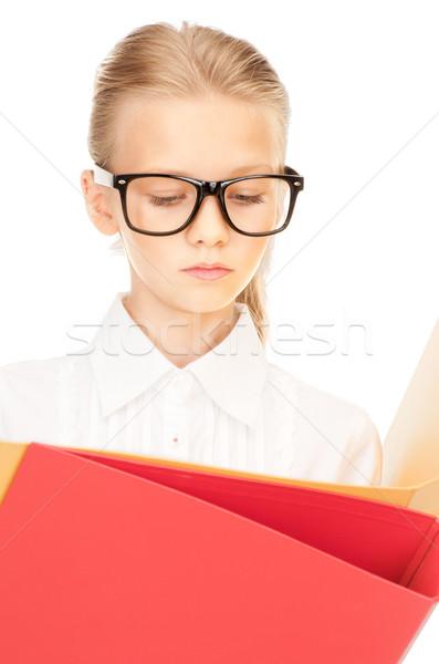 általános iskola diák mappák kép lány gyermek Stock fotó © dolgachov