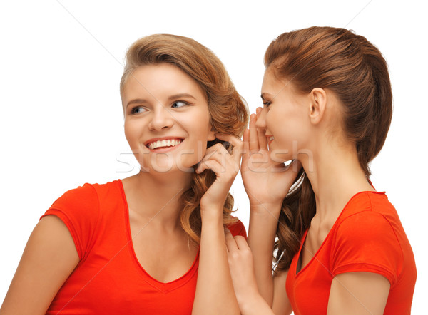 two talking teenage girls in red t-shirts Stock photo © dolgachov
