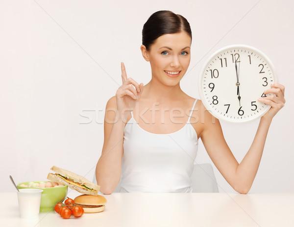 woman with big clock Stock photo © dolgachov