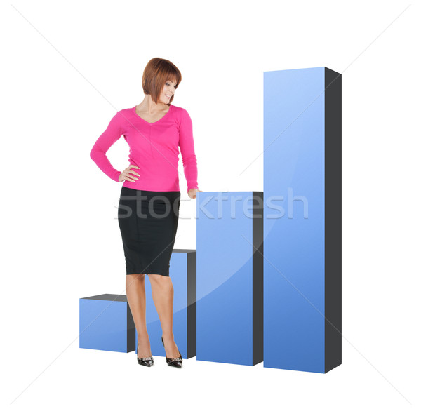 businesswoman pointing at big 3d chart Stock photo © dolgachov