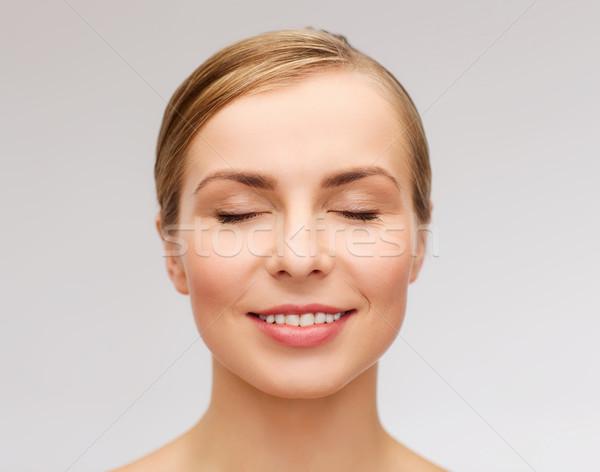 Arc gyönyörű nő csukott szemmel egészség szépség közelkép Stock fotó © dolgachov