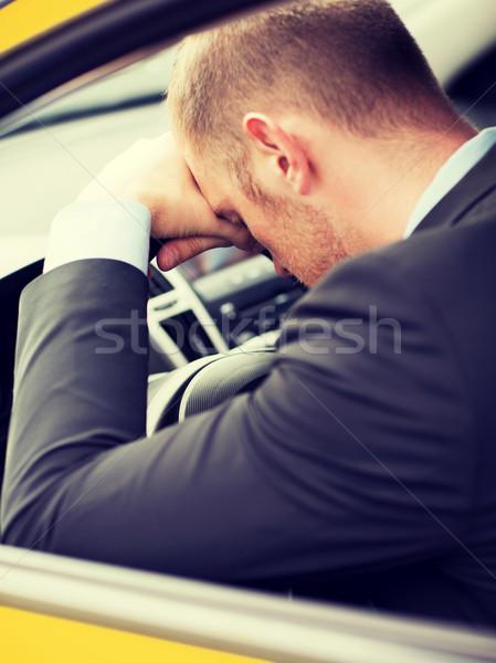 Cansado empresário táxi carro motorista transporte Foto stock © dolgachov