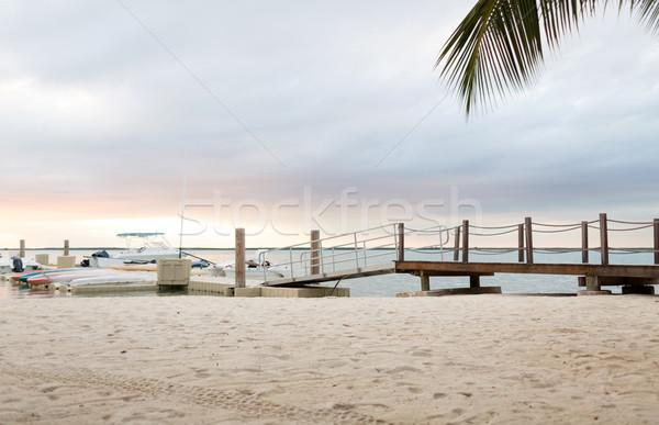 boats moored to pier Stock photo © dolgachov