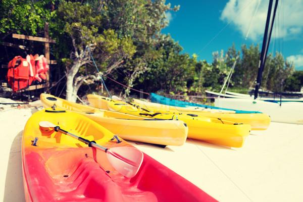 Praia verão atividades férias praia azul Foto stock © dolgachov