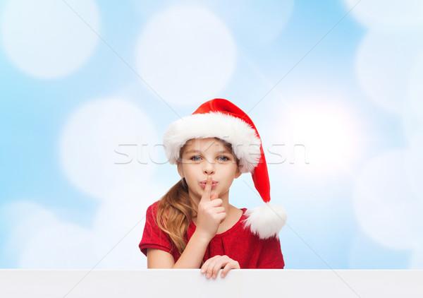 Gülen küçük kız yardımcı şapka Noel Stok fotoğraf © dolgachov