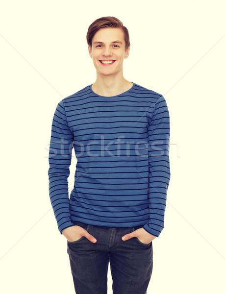 Mosolyog tizenéves fiú emberek boldogság fehér boldog Stock fotó © dolgachov