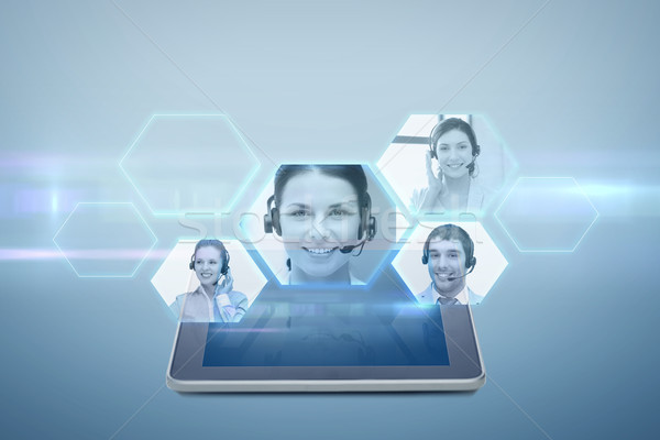 tablet pc computer with video chat projection Stock photo © dolgachov