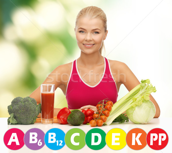 happy woman with organic food and vitamins Stock photo © dolgachov