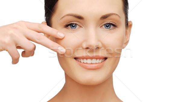 Gezicht handen mooie vrouw gezondheidszorg schoonheid aanraken Stockfoto © dolgachov