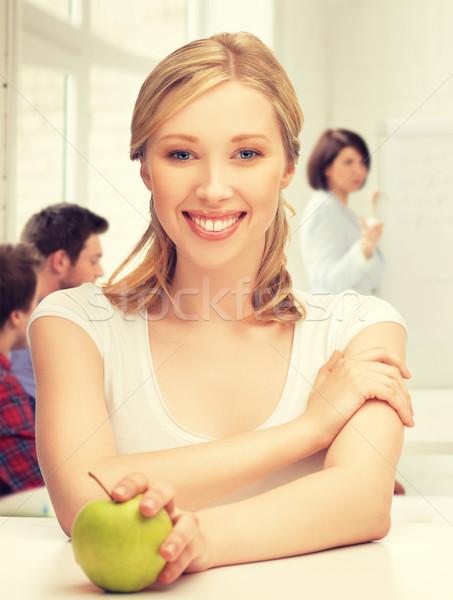 Stockfoto: Mooi · meisje · groene · appel · school · foto · vrouw