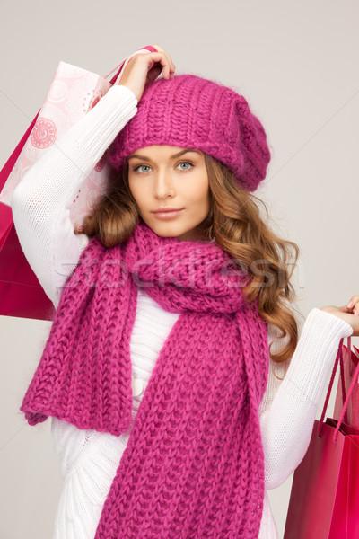 買い物客 女性 ショッピングバッグ 白 少女 幸せ ストックフォト © dolgachov