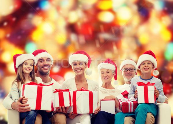 Stok fotoğraf: Mutlu · aile · yardımcı · hediye · kutuları · aile