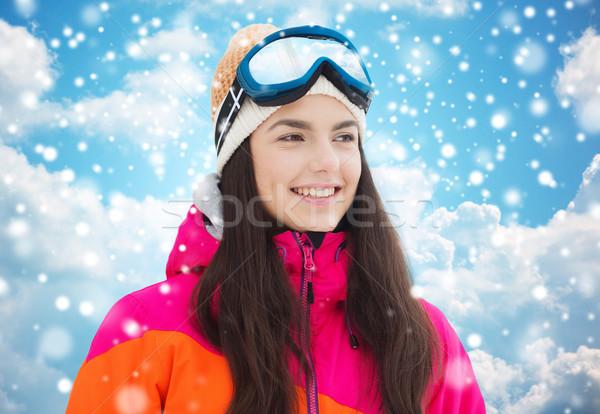 幸せ 若い女性 青空 冬 レジャー ストックフォト © dolgachov