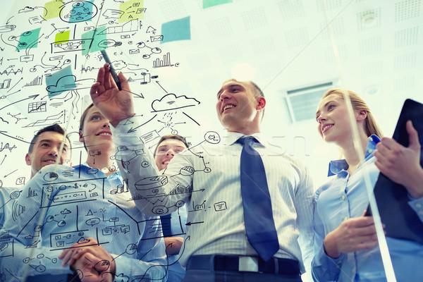 Sorridente pessoas de negócios marcador adesivos trabalho em equipe planejamento Foto stock © dolgachov