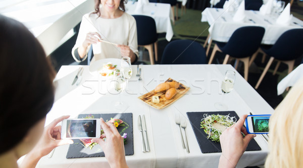 close up of women picturing food by smartphones Stock photo © dolgachov