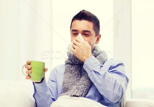 человека грипп питьевой чай сморкании Сток-фото © dolgachov