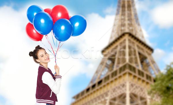 Genç kız balonlar Eyfel Kulesi insanlar seyahat turizm Stok fotoğraf © dolgachov