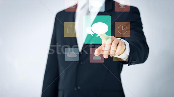 Man wijzend vinger mensen business Stockfoto © dolgachov