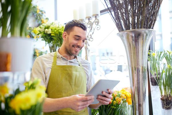 Człowiek komputera kwiaciarnia ludzi działalności Zdjęcia stock © dolgachov