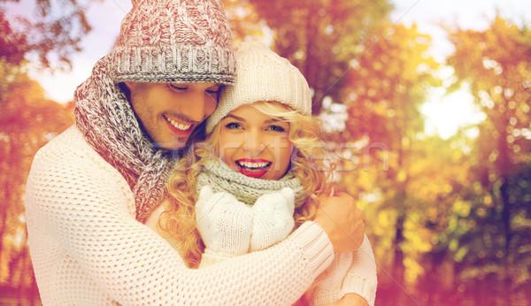 Szczęśliwy para ciepły ubrania ludzi Zdjęcia stock © dolgachov