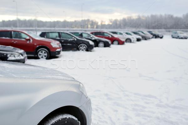 Tél autó parkolás hó közlekedés jármű Stock fotó © dolgachov