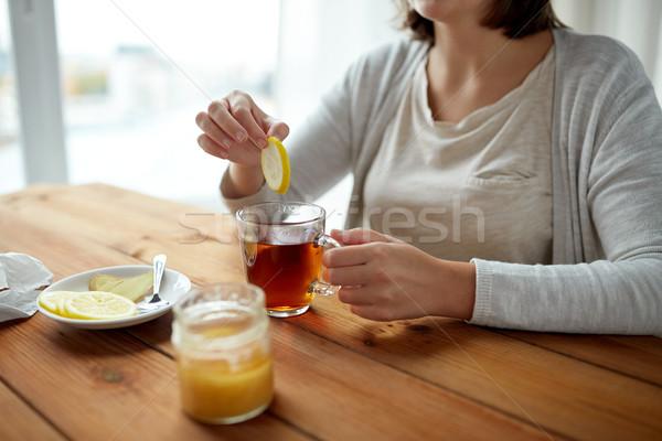 女性 レモン 茶碗 健康 伝統的な ストックフォト © dolgachov
