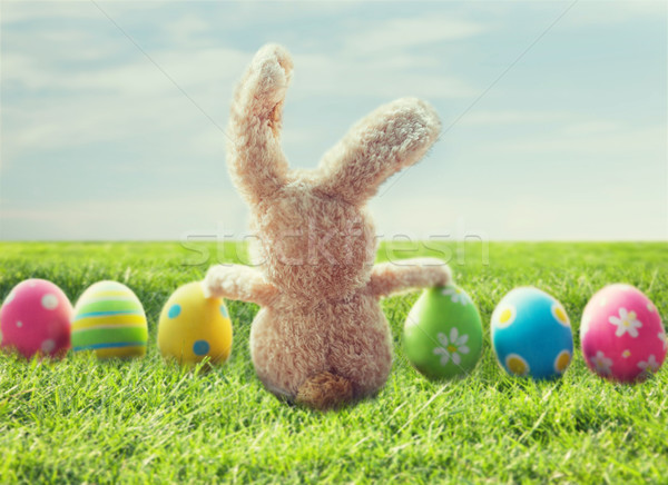 close up of colored easter eggs and bunny on grass Stock photo © dolgachov